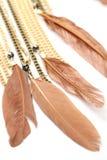 Stuk halsbandkettingen met veren Stock Afbeeldingen