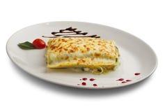Stuk lasagna's met vlees Royalty-vrije Stock Afbeelding