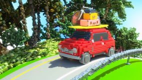 Stuk speelgoed auto die naar vakantie 3d illustratie gaan royalty-vrije illustratie