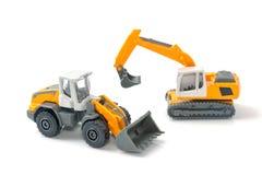 Stuk speelgoed auto en de bouwvrachtwagen Royalty-vrije Stock Fotografie