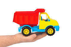 Stuk speelgoed autovrachtwagen ter beschikking Stock Afbeelding