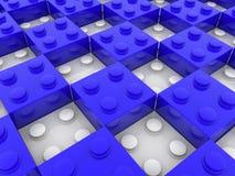 Stuk speelgoed bakstenen in blauwe en witte kleur royalty-vrije illustratie