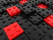 Stuk speelgoed bakstenen in rode en zwarte kleuren stock illustratie
