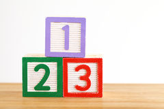 123 stuk speelgoed blok Stock Foto