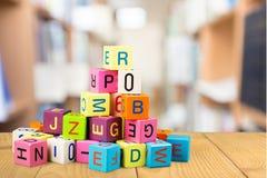 Stuk speelgoed, blok, alfabet Stock Afbeelding
