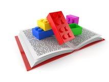 Stuk speelgoed blok op open boek vector illustratie