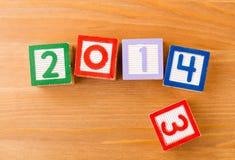 Stuk speelgoed blok voor 2013 tot 2014 Royalty-vrije Stock Fotografie