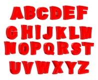 Stuk speelgoed brief Rood alfabet Beeldverhaalkinderen ABC Vector illustrat Stock Afbeeldingen