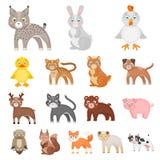 Stuk speelgoed de pictogrammen van het dierenbeeldverhaal in vastgestelde inzameling voor ontwerp Vogel, roofdier en herbivore he vector illustratie