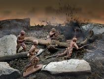 Stuk speelgoed de scène van de militairenoorlog Stock Afbeelding
