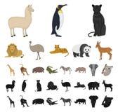 Stuk speelgoed dierenbeeldverhaal, zwarte pictogrammen in vastgestelde inzameling voor ontwerp Vogel, roofdier en herbivore het v royalty-vrije illustratie