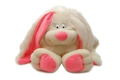 Stuk speelgoed - een wit konijn met roze oren Royalty-vrije Stock Fotografie