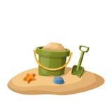 Stuk speelgoed emmer en schop in zand op wit royalty-vrije illustratie