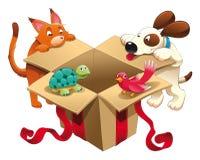 Stuk speelgoed en huisdieren royalty-vrije illustratie