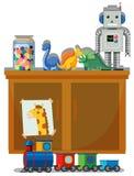 Stuk speelgoed en kast witte achtergrond stock illustratie