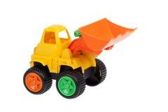 Stuk speelgoed, geïsoleerde bulldozer royalty-vrije stock afbeelding
