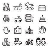 Stuk speelgoed geplaatste pictogrammen Royalty-vrije Stock Foto