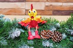 Stuk speelgoed haan het symbool van het nieuwe jaar 2017 Stock Afbeelding