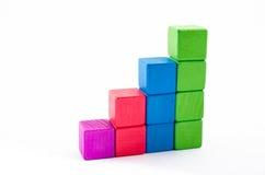 Stuk speelgoed het blok isoleert royalty-vrije stock foto's
