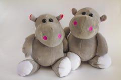 Stuk speelgoed hippos royalty-vrije stock foto's