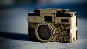 Stuk speelgoed houten camera Royalty-vrije Stock Fotografie