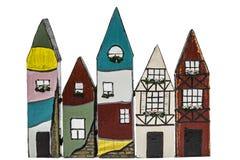 Stuk speelgoed huizen, op witte achtergrond Royalty-vrije Stock Afbeelding