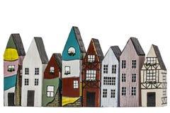 Stuk speelgoed huizen, op witte achtergrond Stock Foto