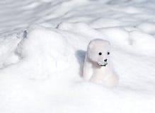 Stuk speelgoed ijsbeer in sneeuw Royalty-vrije Stock Afbeeldingen