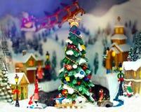 Stuk speelgoed Kerstmisstad Stock Fotografie