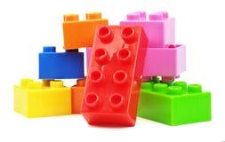 Stuk speelgoed kleurrijke plastic blokken Stock Fotografie
