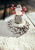 Stuk speelgoed koffiesneeuwman Royalty-vrije Stock Afbeelding