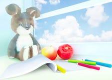 Stuk speelgoed konijn, appelen, album, potloden op de vensterbank 3d Royalty-vrije Stock Afbeelding