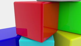 Stuk speelgoed kubussen op wit stock footage