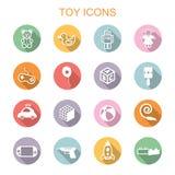 Stuk speelgoed lange schaduwpictogrammen Royalty-vrije Stock Fotografie