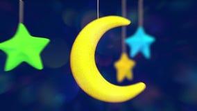 Stuk speelgoed maan en sterren stock videobeelden