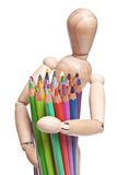 Stuk speelgoed met kleurenpotlood Stock Foto's