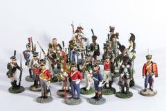 Stuk speelgoed militair op wit wordt geïsoleerd dat Stock Afbeeldingen