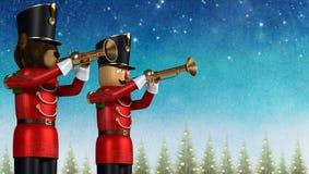 Stuk speelgoed militairen die trompetten spelen tegen de Kerstmiswinter backgroun stock illustratie