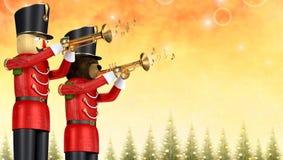 Stuk speelgoed militairen die trompetten spelen tegen feestelijke Kerstmisachtergrond stock illustratie