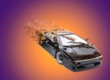 Stuk speelgoed model van een zwarte auto met het effect van bederf stock illustratie
