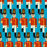 Stuk speelgoed naadloos militairpatroon Gardesoldaat plaything achtergrond Ve vector illustratie