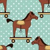 Stuk speelgoed paarden naadloos patroon stock illustratie