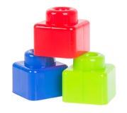 Stuk speelgoed. Plastic stuk speelgoed blokken op de achtergrond Royalty-vrije Stock Foto