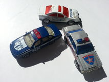 Stuk speelgoed politiewagens Royalty-vrije Stock Foto