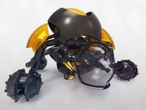 Stuk speelgoed robotholding gebroken duidelijk gebied Stock Afbeeldingen