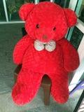 Stuk speelgoed rode teddybeer Royalty-vrije Stock Afbeeldingen
