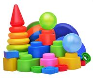 Stuk speelgoed samenstelling met de elementen van de de kubussenaannemer van de balpiramide Royalty-vrije Stock Afbeelding
