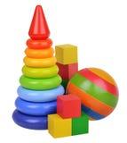 Stuk speelgoed samenstelling op witte achtergrond wordt geïsoleerd die Royalty-vrije Stock Fotografie