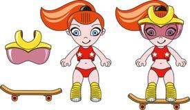 Stuk speelgoed sportief meisje Stock Foto