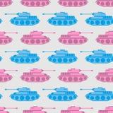 Stuk speelgoed tank naadloos patroon Blauw en roze militair speelgoed Vectoro Royalty-vrije Stock Afbeeldingen